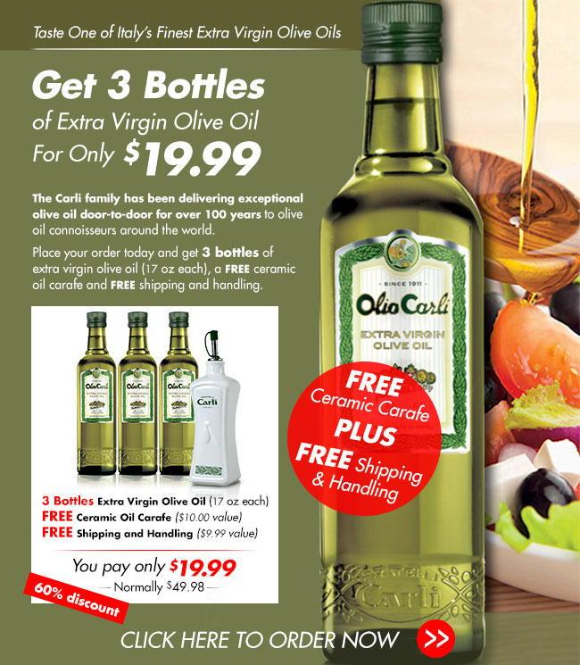 Get 3 Bottles of Olio Carli Extra Virgin Olive Oil for only $19.99